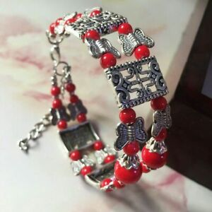 Ladies Jewelry Tibetan Silver Butterfly Bracelet Red Bead Bangle Woman Bracelet
