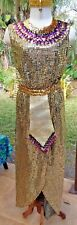 Metallic Gold Cleopatra Costume w/Spangled Belt, Snake Headpiece, Sequind Collar
