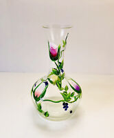 Vintage Hand Blown Hand Painted Art Glass Vase