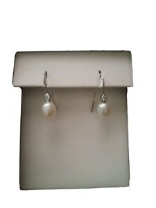 Cubic Zirconia Stud Freshwater Pearl Drop Sterling Silver Michael Hill Earrings