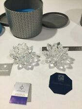 """Swarovski Silver Crystal Small 3"""" Waterlilly Lotus Flower Candle Holders (2)"""