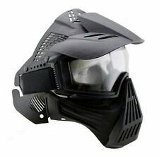 Adjustable Airsoft Shot Wargame Painball Full Face Gas Mask Goggles Protector BK