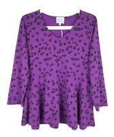 New MASAI Clothing Company Purple Black Floral Jersey Stretch Peplum Top Size S