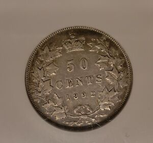 1892 Canada 50 Cents. Obverse 4. RARE Canadian 50 Cents Coin. NGC Certified.
