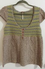 Free People Women's Sweater Top Cable Knit Wool Blend Empire Cap Sleeve Sz M