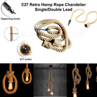 Pendant lighting Fitting Hemp Rope Ceiling Lamp Loft Vintage Chandelier E27 Base