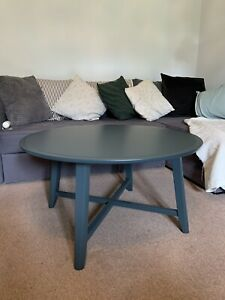 IKEA KRAGSTA, Dark Blue Green Round Living Room Coffee Table 90 cm