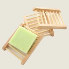 New Bamboo Wooden Soap Dish Drain Tray Holder Storage Rack Plate Bathroom Supply