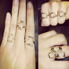 Set di buona fortuna cristallo Daisy GEOMETRIA Gemstone Mid dito punta anello Midi Knuckle