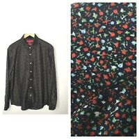 Report Collection mens shirt large floral button modern fit blue long sleeves L