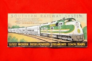 SOUTHERN RAILWAY SYSTEM Vintage Matchbook Cover The Southerner The Tennessean