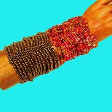 Set of 2 Orange Gold Multi Strand Handmade Cleo Stretch Seed Bead Cuff Bracelets