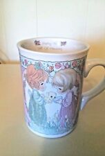 Precious Moments Sharing the Gift of Friendship ceramic cup mug 2 girls with cat