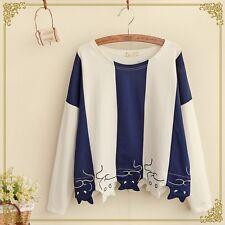 Autumn New Japanese Mori Girl's Cat Pattern Long Sleeve Pullover Shirt