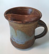 Studio Pottery Mustache Cup Hand Thrown Pottery Signed Brown LH Or CH