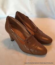 Chic Vintage Ruseg Brown Leather Heels w Strap & Buckle Accents Sz 5 Made Italy