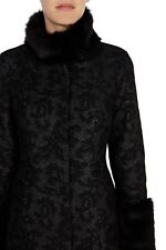 Coast Avenue Lace Effect Coat With Faux Fur Collar And Cuff Trim Uk Size 8