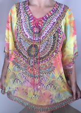 Sparkly Kaftan Pink Diamantes Pearls Floaty Yellow Stunning Soft Fits 16-20 NEW