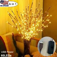 60 LEDs Warm LED Willow Branch Lamp Floral Lights Christmas Party Garden Decor
