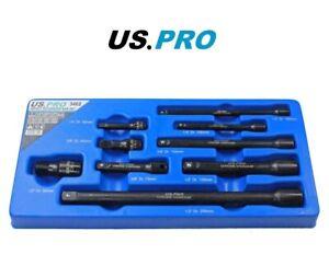 "US PRO Tools 9pc 1/4"" 3/8"" 1/2"" dr Impact Extension Bar Set, Socket Bars 3462"