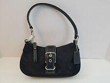 Coach Women's Handbags Purses Authentic  Black Signature Wristlet Leather Trim