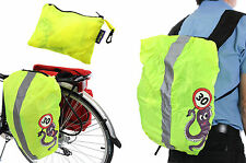 WOWOW FLUORESCENT RUCKSACK, PANNIER BAG, BACKPACK HI VIZ BIKE RAIN COVER