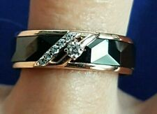 Diamond 0 05 Ct Ring Black Ceramics Rose Gold 14kt Russische Rotgold Sz 7 3/4