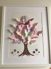 3D Bild Kinderbild Kinderzimmer Dekoration Mädchen Schmetterling Rosa Unikat