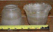 2 Antique Quilted Ruffled Edge Glass Gas Electric Lamp Shade Globe 2-1/4 Fitter