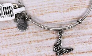 NEW NWT Alex and Ani Butterfly Charm Bangle Silver Bracelet