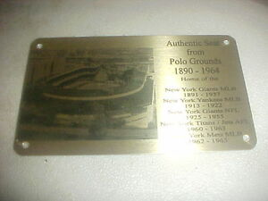 GIANTS POLO GROUNDS  STADIUM  SEAT PLAQUE