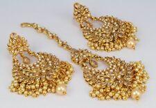 Gold Plated polki Kundan wedding women Indian Fashion jewelry Earring Tikka Set