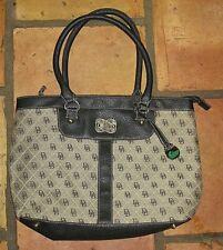 Dooney & Bourke Navy Monogram Fabric & Leather Large Shoulder Bag Handbag