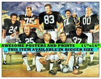 RARE, Vintage NFL, Oakland Raiders Greats, Lithograph. Poster REPRINT 11x14