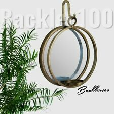 Round MIRRORED WALL HANGING SCONCE tealight CANDLE HOLDER metal aged brass tone