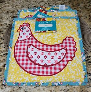 THE PIONEER WOMAN SET OF 4 QUILTED CHICKEN  ANIMAL TRIVET NEW WITH TAGS