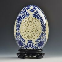 Chinese old Blue and White porcelain Egg shape Openwork carving art Egg