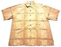 Tommy Bahama Mens Orange Floral Short Sleeve Button Front Silk Shirt Size Large