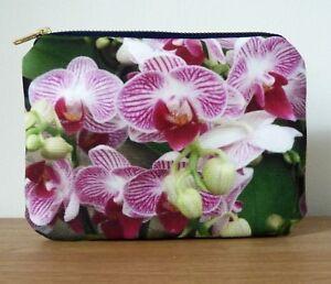 Make up Bag Purse Cosmetics Gifts Navy Zipper Flower Floral Orchids Handmade