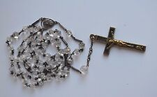 Antique Sterling Catholic Rosary Pear Shape Ice Crystal Beads 2 side caped
