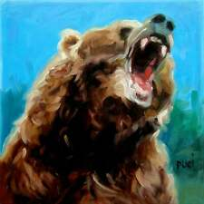 Original Oil Painting BEAR! by puci, cal animal portrait growling grizzly, 8x8