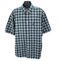 Walt Disney World Mens Mickey Mouse Blue Green Plaid Button Down S/S Shirt XL