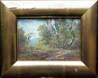 ANTONIO Otmar Janecek 1913-1996: Kinder Wald Sommer, Öl Miniatur Echtgoldrahmen