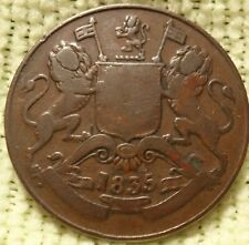 Large 1835 East India Company Half Anna Temple Token 3 Lions Medal KM 447.1 Coin
