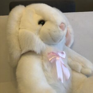"Aurora Plush White Bunny Rabbit Stuffed Animal Easter 19"" Tall Pink Bow"