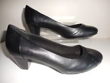 Black Pleated Front Comfort Court Shoes Size 10 Wide Fit (EEE) BNWT From Evans