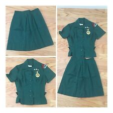 Vintage 1960s Senior Girl Scout Uniform 2 Piece Blouse Skirt, Patches, Panorama
