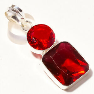 """Pink Rubellite Faceted Garnet Handmade Fashion Jewelry Pendant S-2.10"""" PUS-579"""