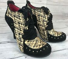 Irregular Choice Mutiny Abigail's Party Black Woven Ribbon Lace Heels Sz 9