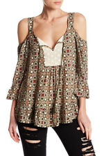 DR2 Plus Size 1X Lace Bib Pattern Cold Shoulder Shirt Brown 3/4 Sleeves Tassels